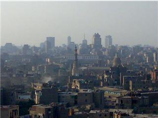 Der Blick vom Aussichtshügel aus auf die Altstadt von Kairo